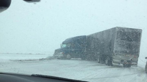 jackknifed truck on I-80
