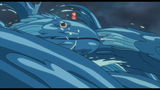 Ponyo, a girl who started out as a goldfish, runs across waves of giant fish in the movie's climax.