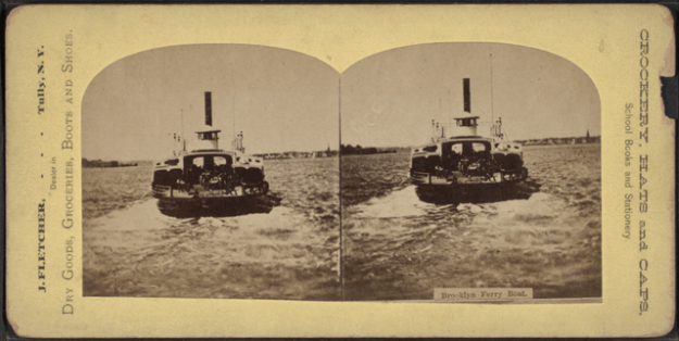 Brooklyn ferry boat, latter nineteenth century, via Wikimedia Commons