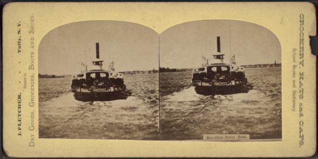 Brooklyn ferry boat, latter nineteenth century, via Wikimedia Commons
