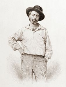 Walt Whitman, age 37, frontispiece to Leaves of Grass, Fulton St., Brooklyn, N.Y., steel engraving by Samuel Hollyer from a lost daguerreotype by Gabriel Harrison. Wikimedia Commons