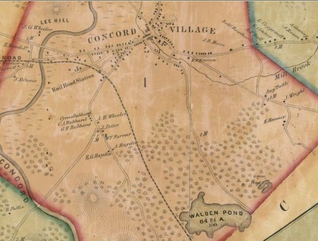 Detail of 1852 map, showing Concord and Walden Pond. Library of Congress