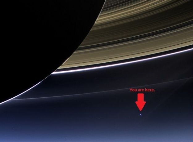 Earth seen from just past Saturn, taken by the Cassini spacecraft. NASA/JPL/SSI/CICLOPS/Wikimedia Commons