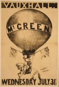 Poole ascended with balloonist Charles Green. The poster shown here was for an actual ascension in which Green went aloft on horseback. Library of Congress